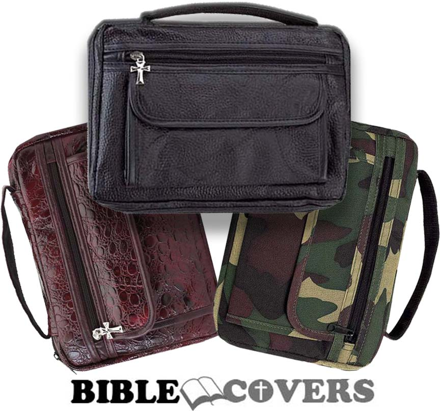 Bible Cover Book Case Tote Leather Bag Burgundy Black Camo