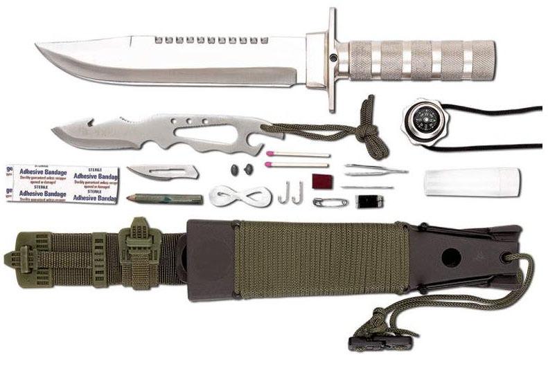 "13 pc. Survival Knife Set 14"" Kit Handle Rambo Sheath"