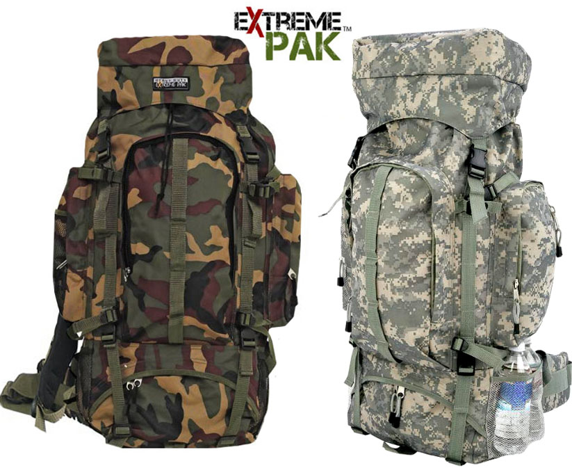 6a81c9db050 Details about Extreme Pak Big Camo Backpack Water Resistant Hiking Camping  Camouflage Large