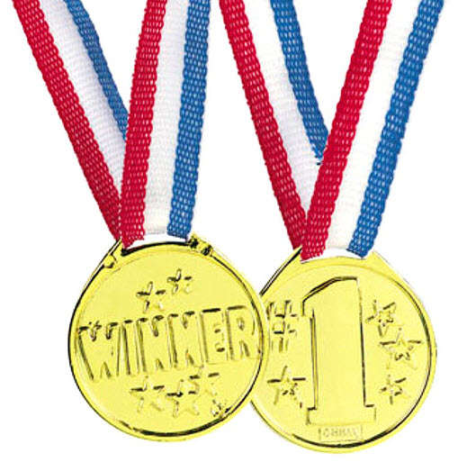 #1 Gold Medals Dozen Winner Red White Blue Ribbon Reward ...