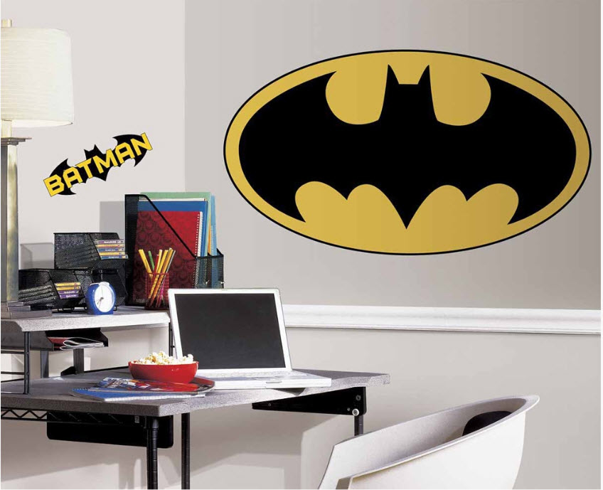 Batman logo giant wall decal 4 stickers room decor 40 for Batman wall mural decal