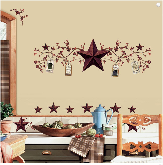 Country stars berries kitchen wall stickers decal tall room decor roommates ebay - Stars for walls decorating ...