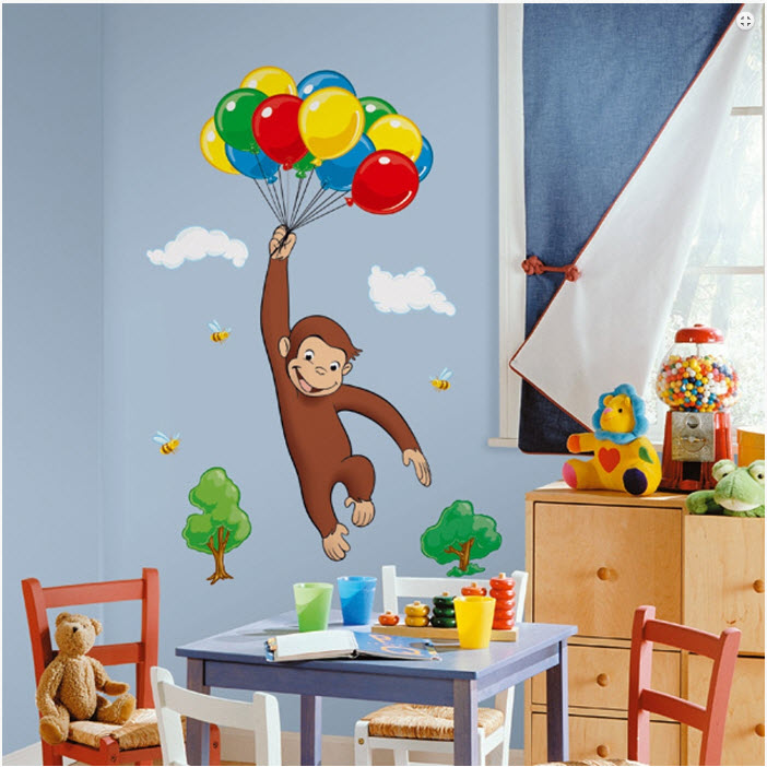 Giant curious george wall decal kids room stickers for Curious george wall mural