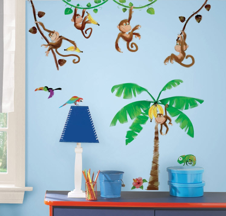 details about monkey business wall decals stickers appliques palm tree
