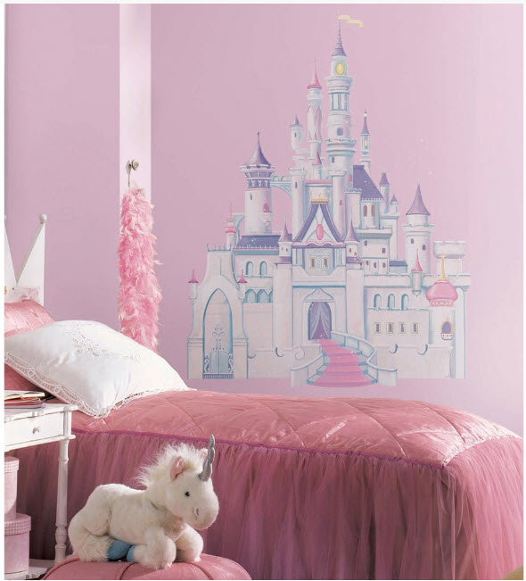Disney princess castle big wall mural stickers room decor for Castle mural kids room