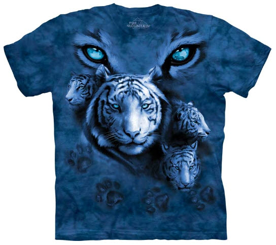 white tiger eyes t shirt adult large snow blue tee by the mountain ebay. Black Bedroom Furniture Sets. Home Design Ideas